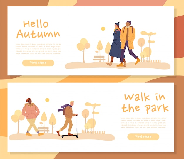 Warmly dressed people on fall header banner set