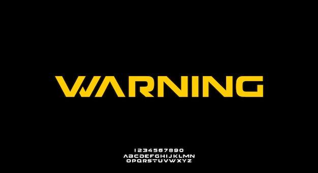 警告、テクノロジーをテーマにした抽象的な未来的なアルファベットのフォント。モダンなミニマリストのタイポグラフィデザイン