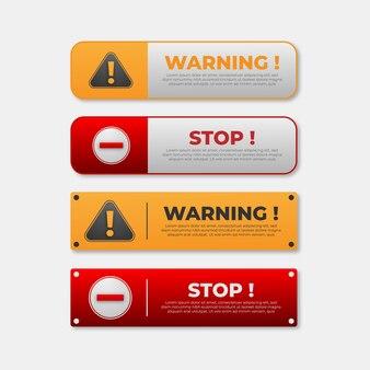 Предупреждающие и стоп-сигналы кнопки для веб-целей