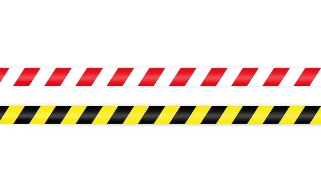 Warning barrier tape red white and yellow black. tape pole fencing is protects for no entry.