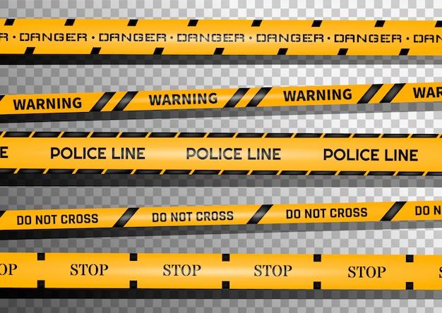 黒と黄色の縞模様の警告線。