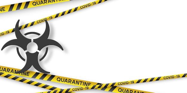 노란색과 검은색 줄무늬와 3d 감염 기호가 있는 경고 코로나바이러스 검역 배너. 바이러스 코비드-19. 복사 공간이 있는 흰색 배경. 격리 생물 학적 기호입니다. 벡터.