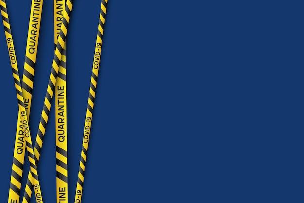 노란색과 검은색 줄무늬가 있는 경고 코로나바이러스 검역 배너. 바이러스 코비드-19. 복사 공간이 파란색 배경입니다. 격리 생물 학적 기호입니다. 벡터.