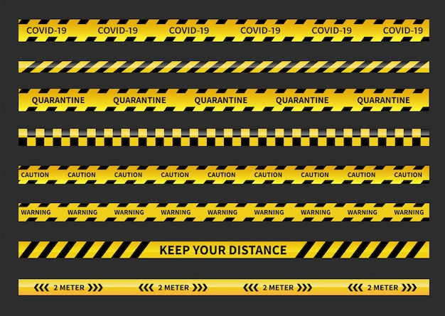 Warning covid-19 quarantine tapes. black and yellow line striped. social distancing tape.