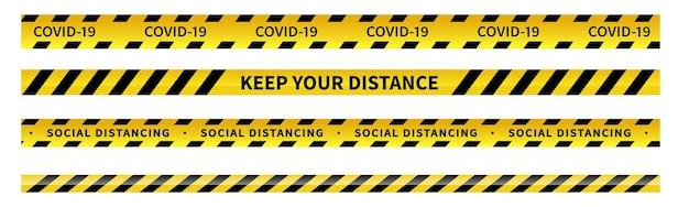 경고 covid19 검역 테이프 검은색과 노란색 선 줄무늬 사회적 거리 테이프