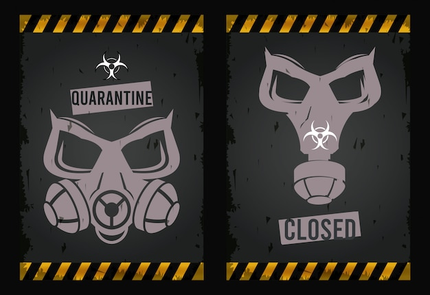 Warning danger virus with masks