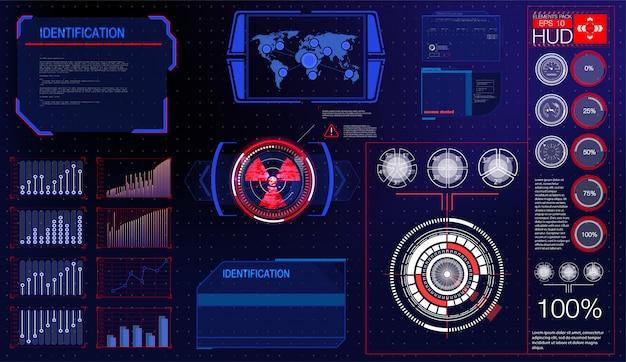 警告フレーム。抽象的なハイテクモダンなhudスタイルのバックグラウンドで青と赤の未来的なフレーム。抽象的なテクノロジーコミュニケーションデザインイノベーションコンセプトの背景。抽象的なデザイン。
