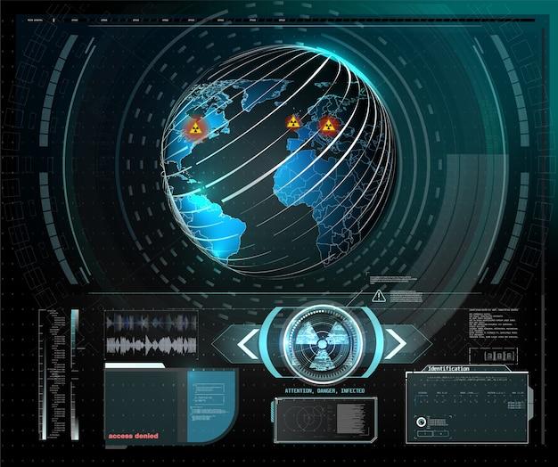 警告フレーム。現代のhudの抽象的な技術デザイン青と赤の未来的なフレーム