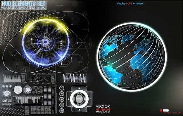 警告フレーム。現代の抽象的な技術デザイン青と赤の未来的なフレーム