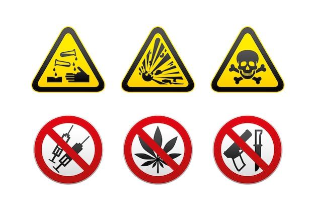 Набор предупреждений об опасности и запрещенных знаков