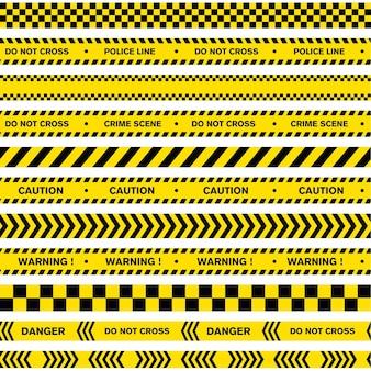 Предупреждение линии полиции векторный дизайн шаблона иллюстраций