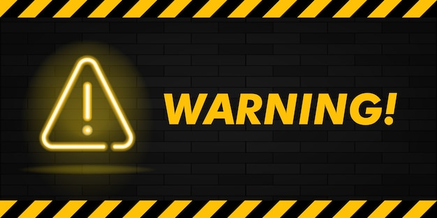 Warning neon text and triangle sign with exclamation mark.