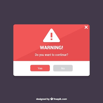 Warning pop up template with flat design