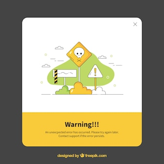 Warning pop up with flat design