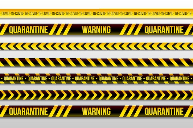 Warning quarantine stripes and stay home