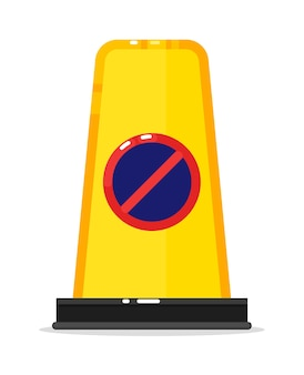 Warning road barrier with no way sign