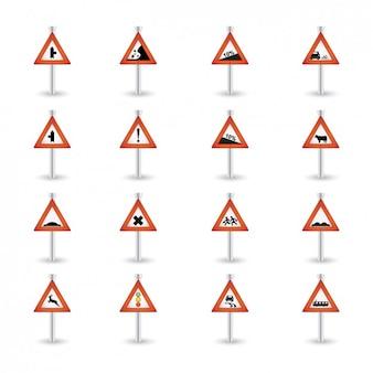 Предупреждение дорожных знаках коллекция