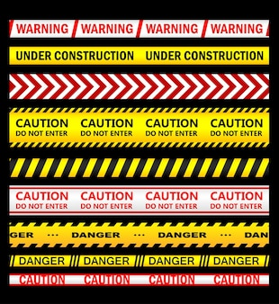 Warning, security and caution ribbons and tapes set for safety, crime or forbidden design