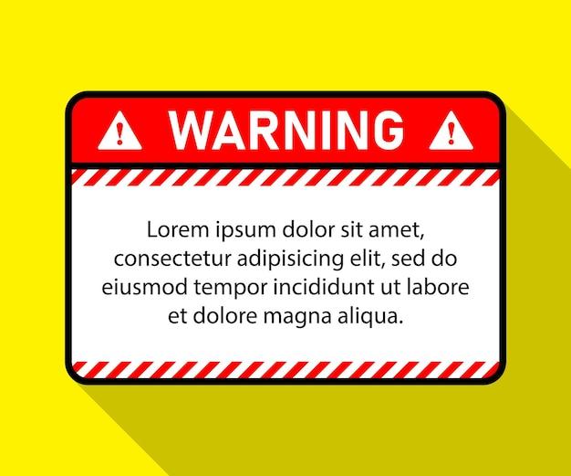 Warning sign blank warning sign striped rectangular