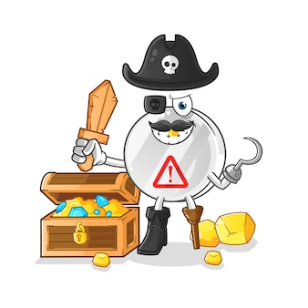 Warning sign pirate with treasure mascot