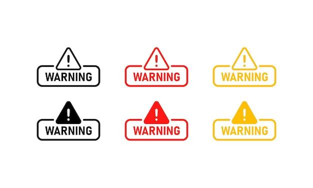 警告サインセット。危険。注意のサイン。ベクトルeps10。白い背景で隔離。