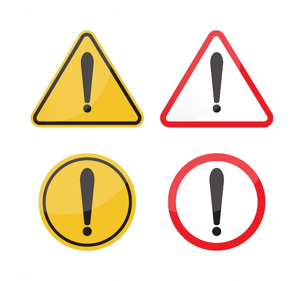 Warning sign set on white background