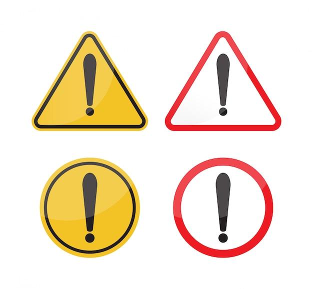 Warning sign set on white background