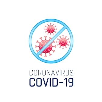 Warning sign with coronavirus covid 19 logo, red corona virus ncov 19 . pandemic concept, health care medical symbol.