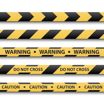 Warning sign, yellow and black stripe tapes