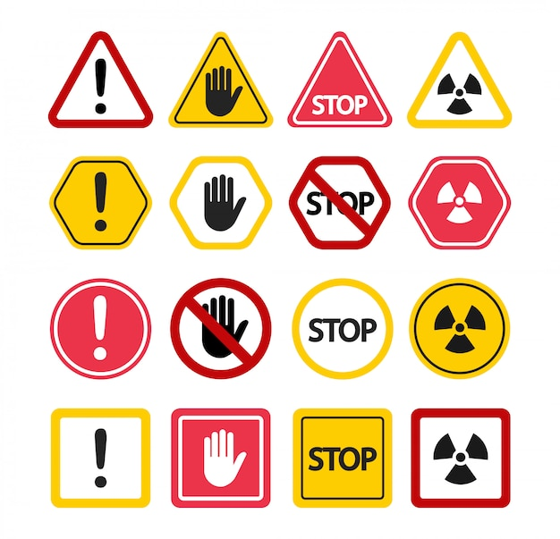 Warning signs. do not touch, attention stop! prohibition symbols.