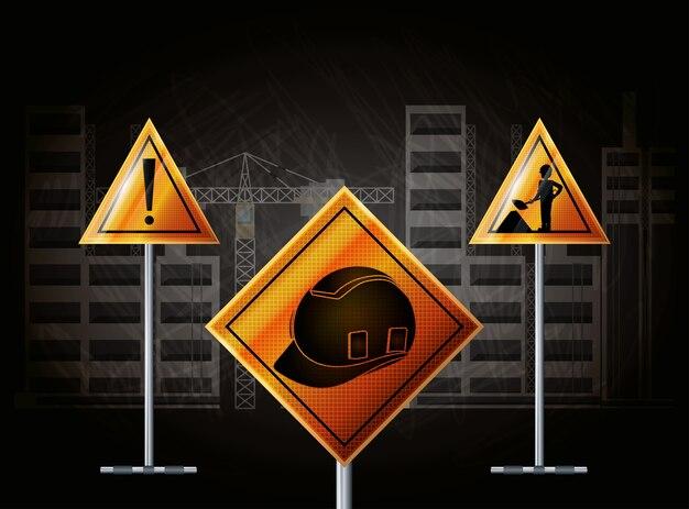 건설 관련 경고 표시 관련 아이콘