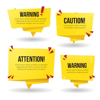 Warning signs in yellow paper style banner