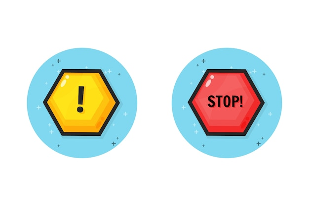 Warning and stop icon design