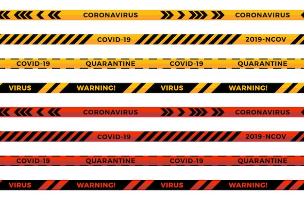 Warning stripes. coronavirus warning seamless stripes. covid-19 signs. warning line collection black, red and yellow color, isolated on white background.