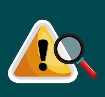 Warning symbol and search graphic isolated