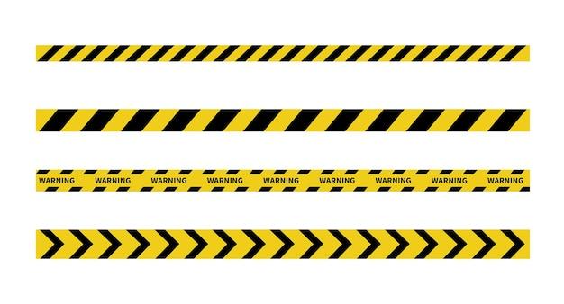 흰색 배경에 경고 테이프 검정색과 노란색 선 줄무늬 주의 및 위험 테이프