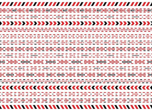 경고 테이프 빨간색과 흰색 위험 테이프 스트라이프 테두리 세트입니다.