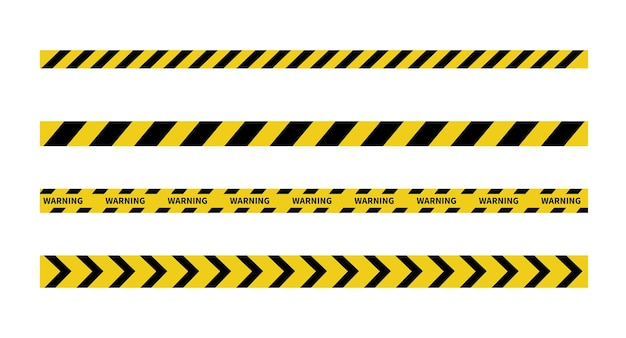 Warning tape on white background black and yellow line striped caution and danger tapes