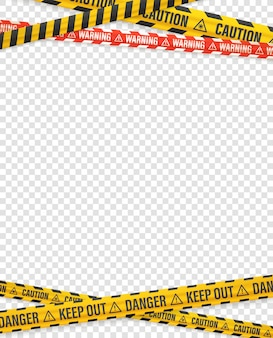Warning tapes on transparent background. vector design template