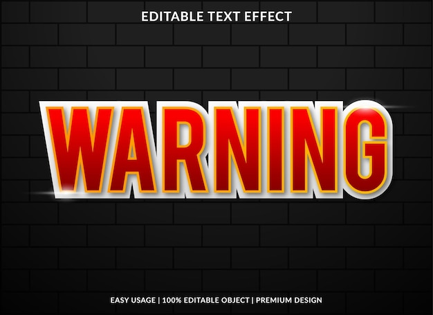 Warning text effect with bold style