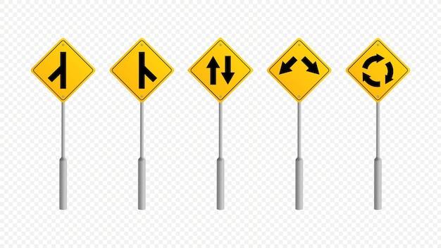 Предупреждение движения дорожных знаков коллекции векторные иллюстрации шаблон