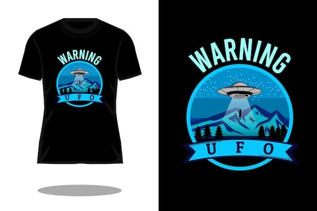 警告ufoレトロシルエットtシャツデザイン