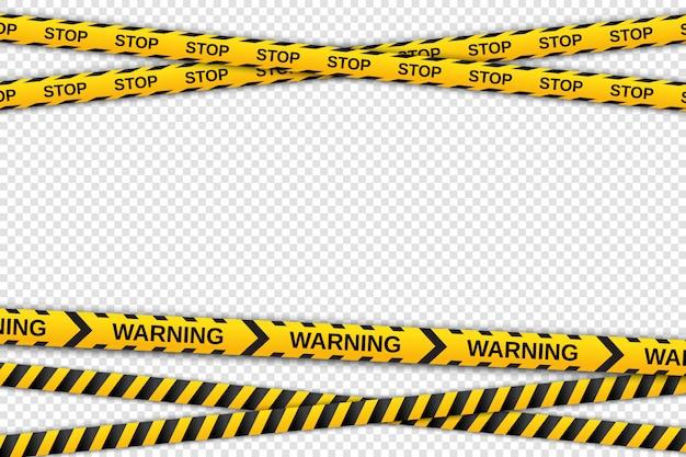 透明な背景に黄色と黒のテープを警告します。安全柵リボン。図