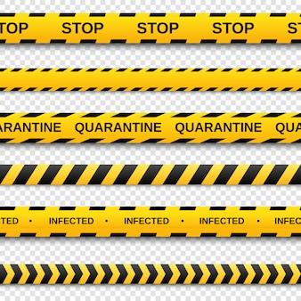 Warning yellow and black seamless tapes set