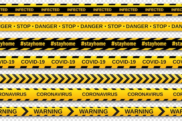 Warning yellow and black seamless tapes on transparent background. safety fencing ribbon. global pandemic coronavirus covid-19.  illustration