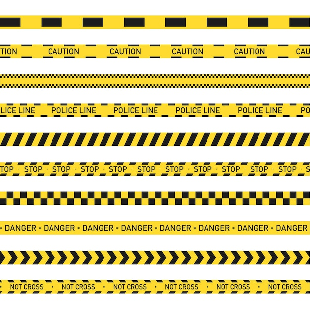 Warning yellow and black stripe, police line, not cross, danger.