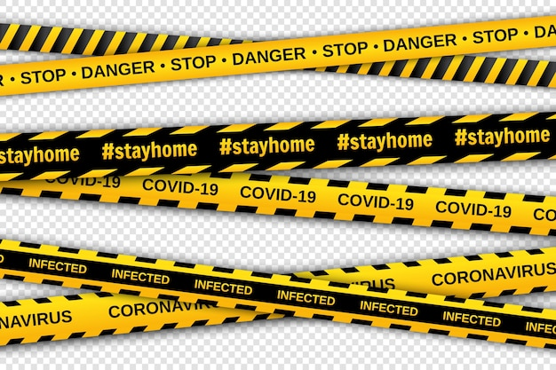 Warning yellow and black tapes on transparent background. safety fencing ribbons. global pandemic coronavirus.