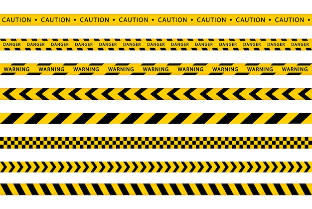 Warning yellow tape set. stripes borders. danger, caution, police stripes. seamless ribbons barricade.