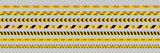 경고 노란색 테이프 세트 줄무늬 테두리