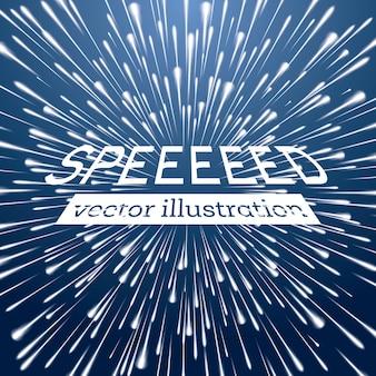 Warp speed background with neon lines. vector illustration.